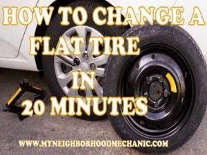 12 Steps to changing a flat tire in under 20 minutes by MyNeighborhoodMechanic in Big Lake MN. Call us today 763 498 1933